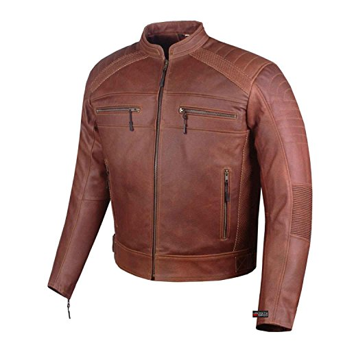 Men S Heavy Duty Distress Brown Leather Motorcycle Cafe Racer Armor