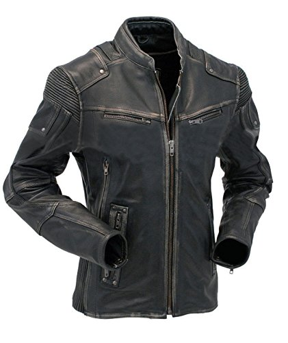 b2939b416c91 Vintage Cafe Racer Biker Style Distressed Motorcycle Leather Jacket ...
