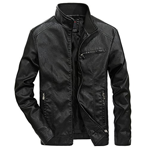 ee4d8feae76 Nantersan Men's Leather Jacket Stand Collar PU Mens Faux Fur Coats  Motorcycle Jacket