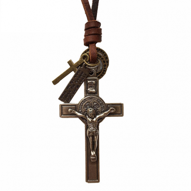 Cross Statement Genuine Leather Necklace